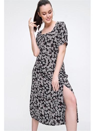 Pink Park Kare Yaka Yırtmaçlı Dokuma Elbise RD00022 Siyah